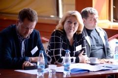 Аляксандр Старыкевіч (злева), Святлана Калінкіна, Андрэй Бастунец