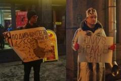 У Пецярбургу арыштавалі ўдзельніка пікету супраць прапагандыста Салаўёва ФОТА