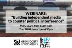 Вебинар Европейской федерации журналистов: Противодействие политическому вмешательству в СМИ (19 и 20 апреля)