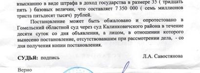 Буйны штраф журналісту-фрылансеру з Гомеля (копія дакумента)